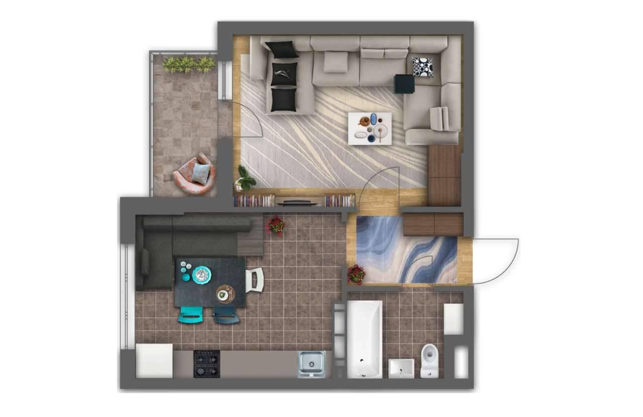 Однокiмнатна квартира 1А - 3D план