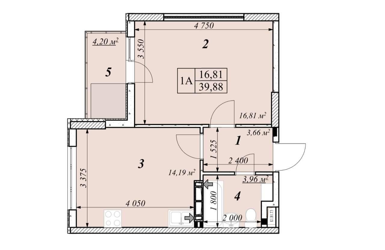 Однокiмнатна квартира 1А - план