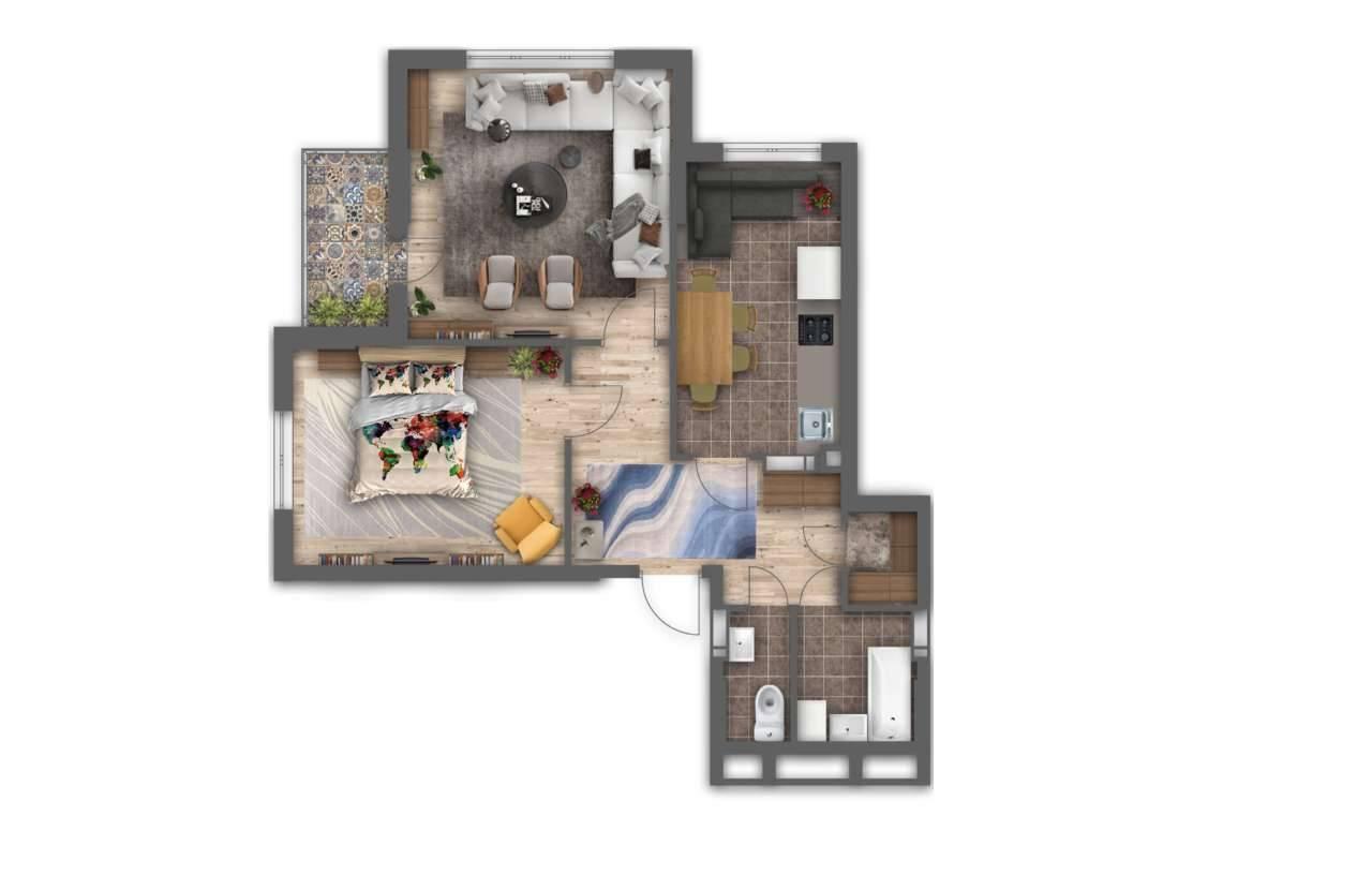 Двокiмнатна квартира 2А - 3D план