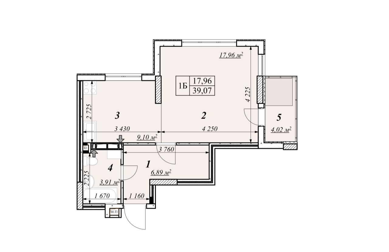 Однокiмнатна квартира 1Б - план