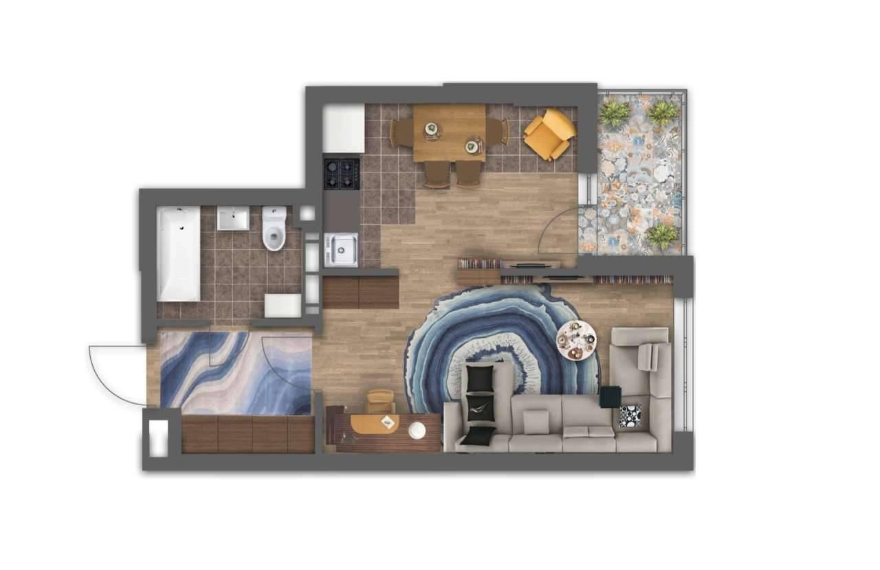 Однокiмнатна квартира 1В - 3D план