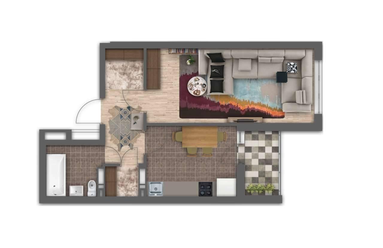 Однокiмнатна квартира 1Г - 3D план