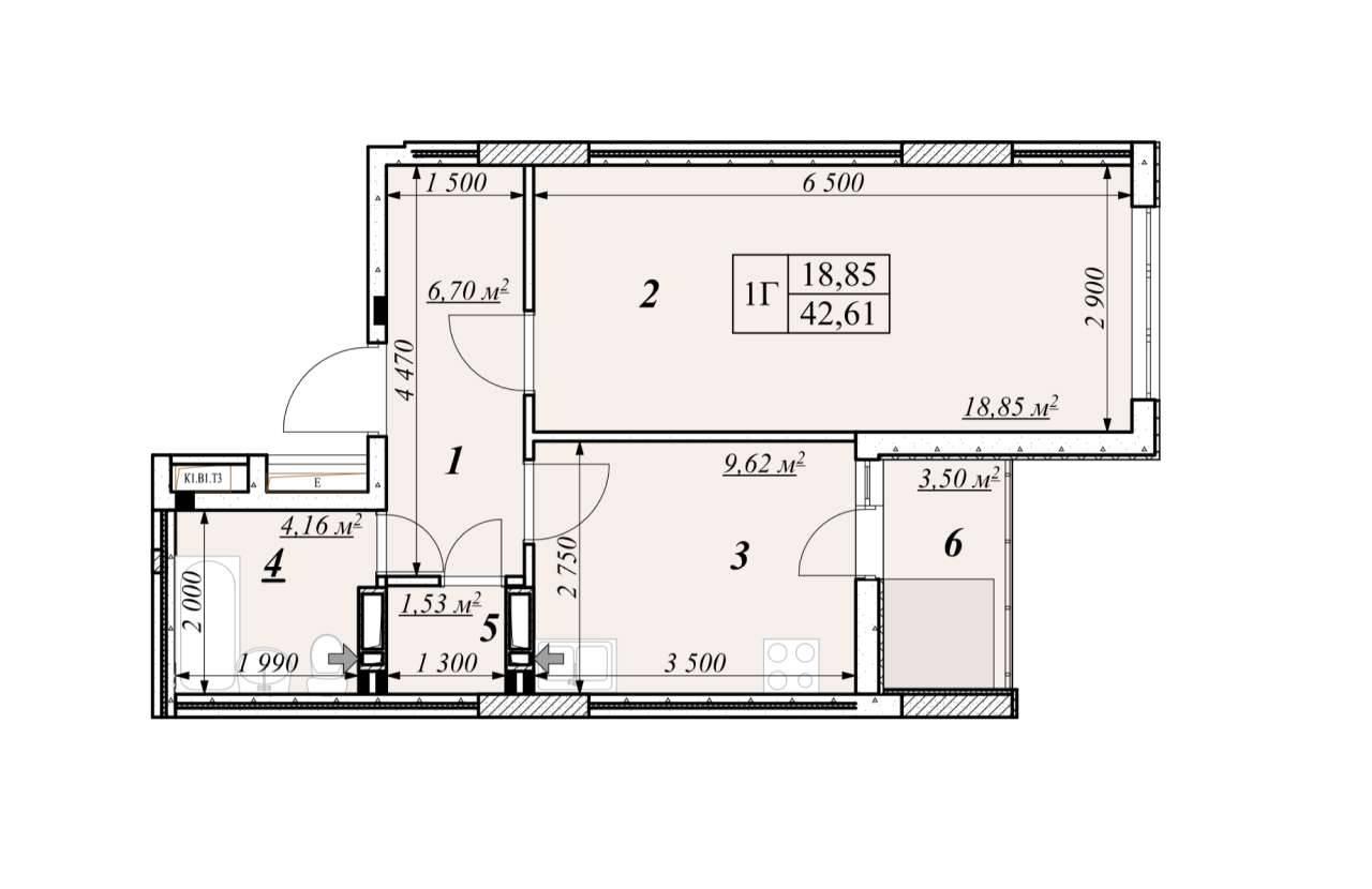 Однокiмнатна квартира 1Г - план