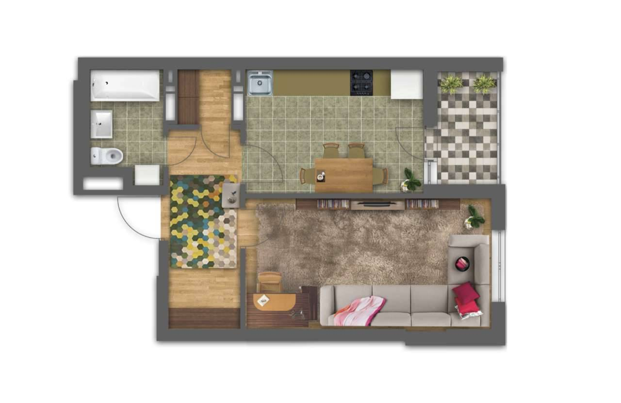 Однокiмнатна квартира 1Д - 3D план