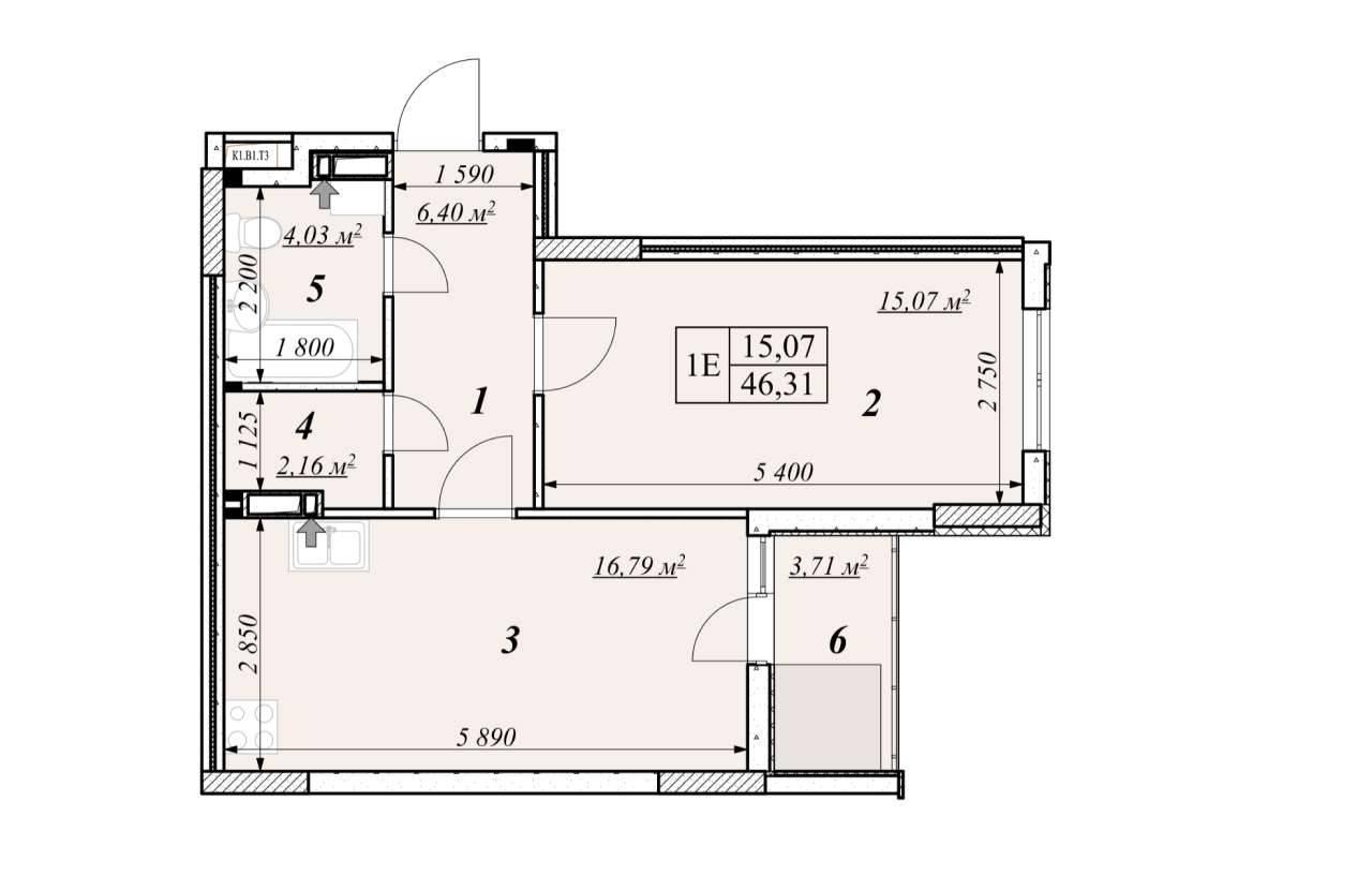 Однокiмнатна квартира 1Е - план