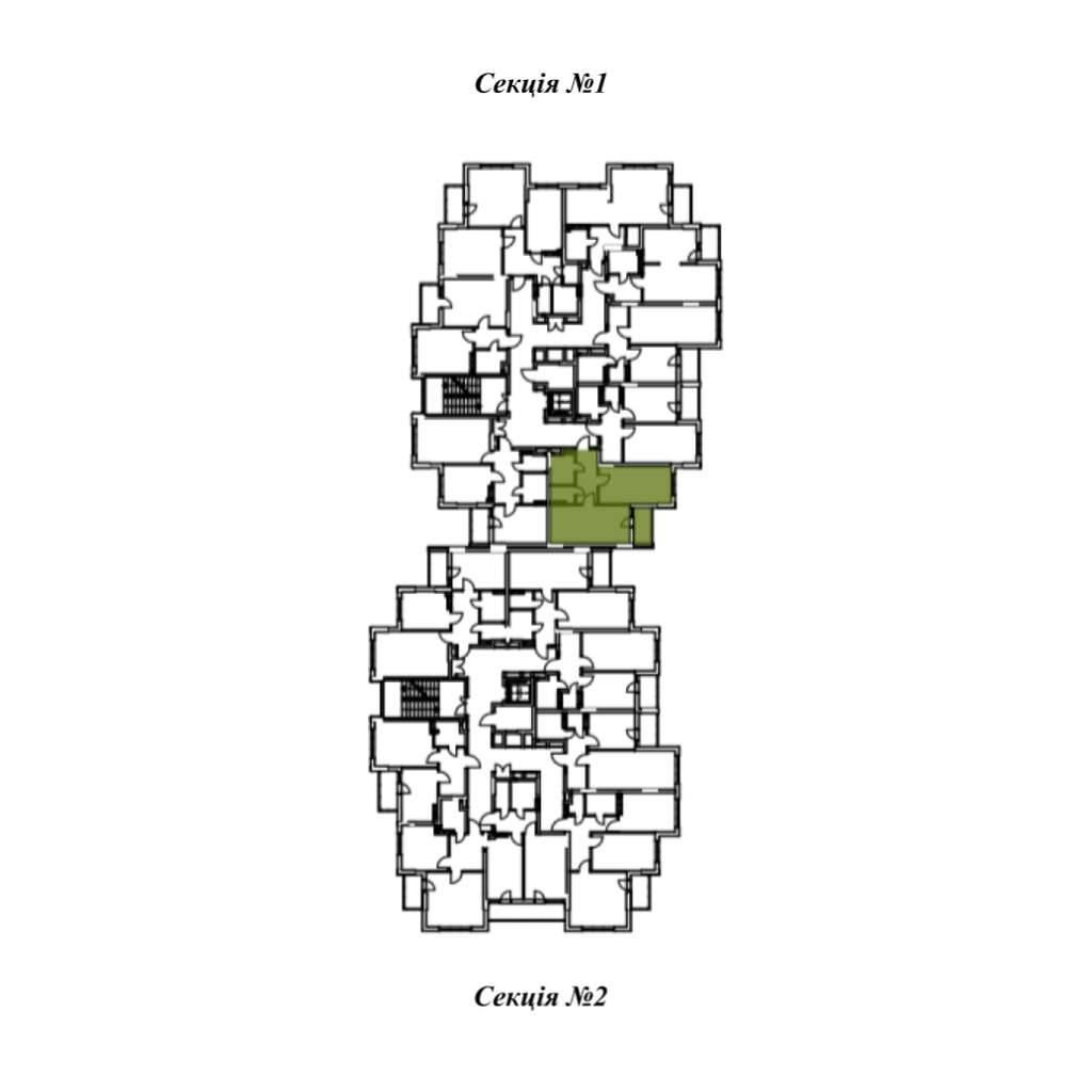 Однокiмнатна квартира 1Е - Секція