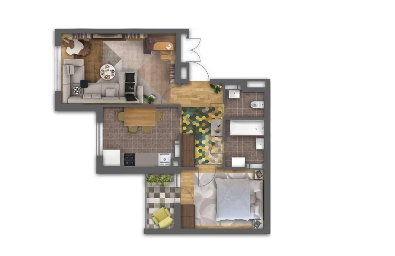 Двохкiмнатна квартира 2Б - 3D план