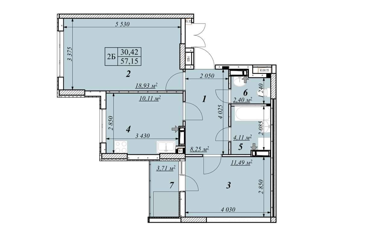 Двохкiмнатна квартира 2Б - план