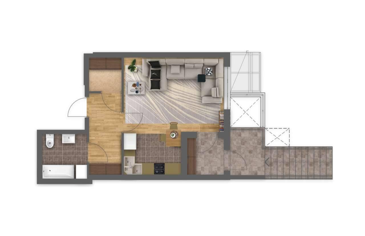 Однокiмнатна квартира 1Ж - 3D план