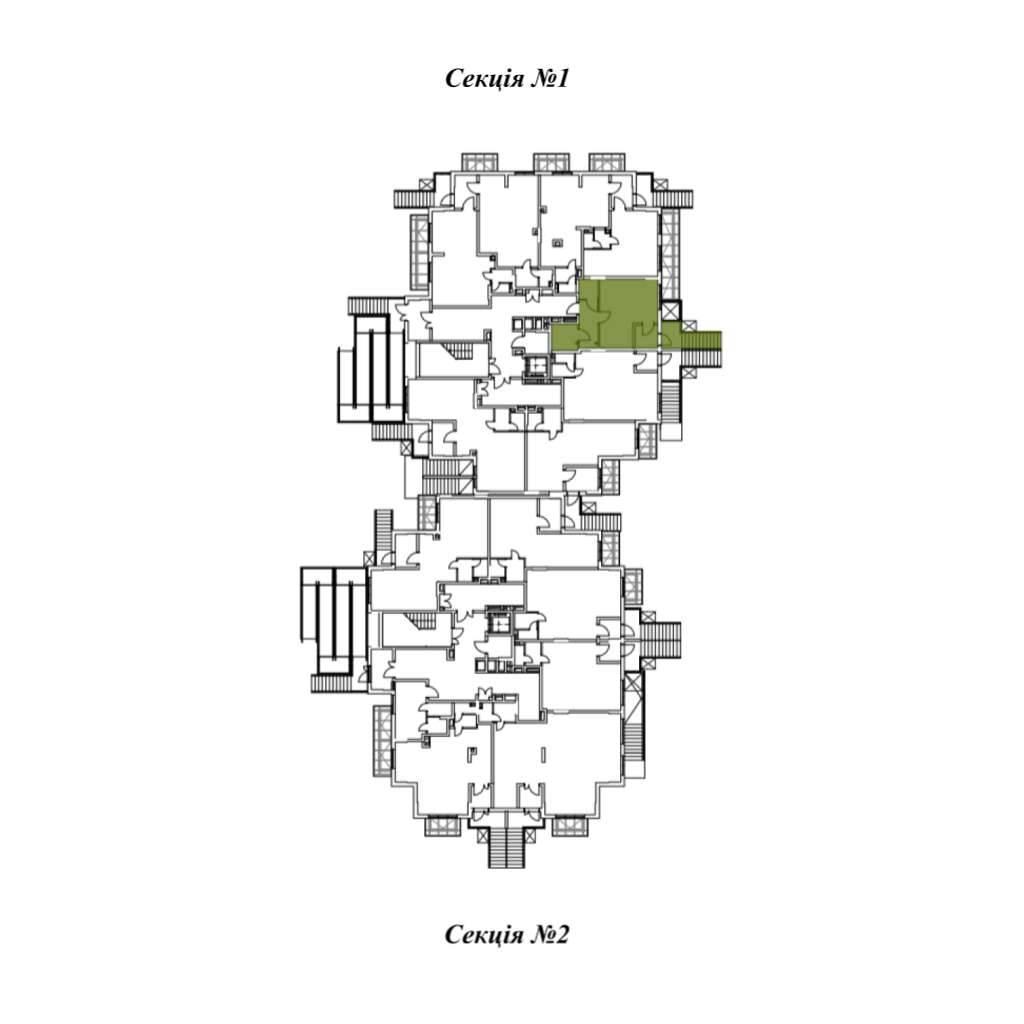 Однокiмнатна квартира 1Ж - Секція