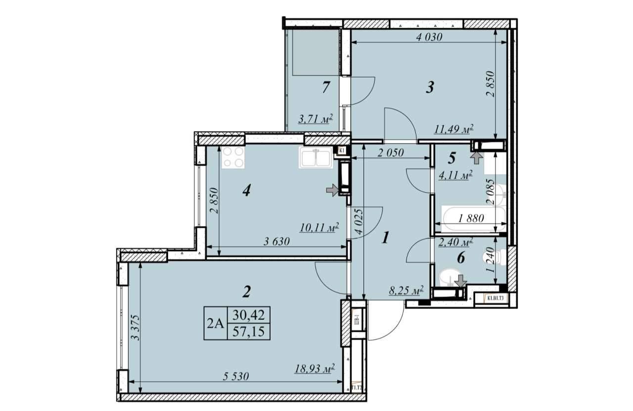 Двокiмнатна квартира 2А - план