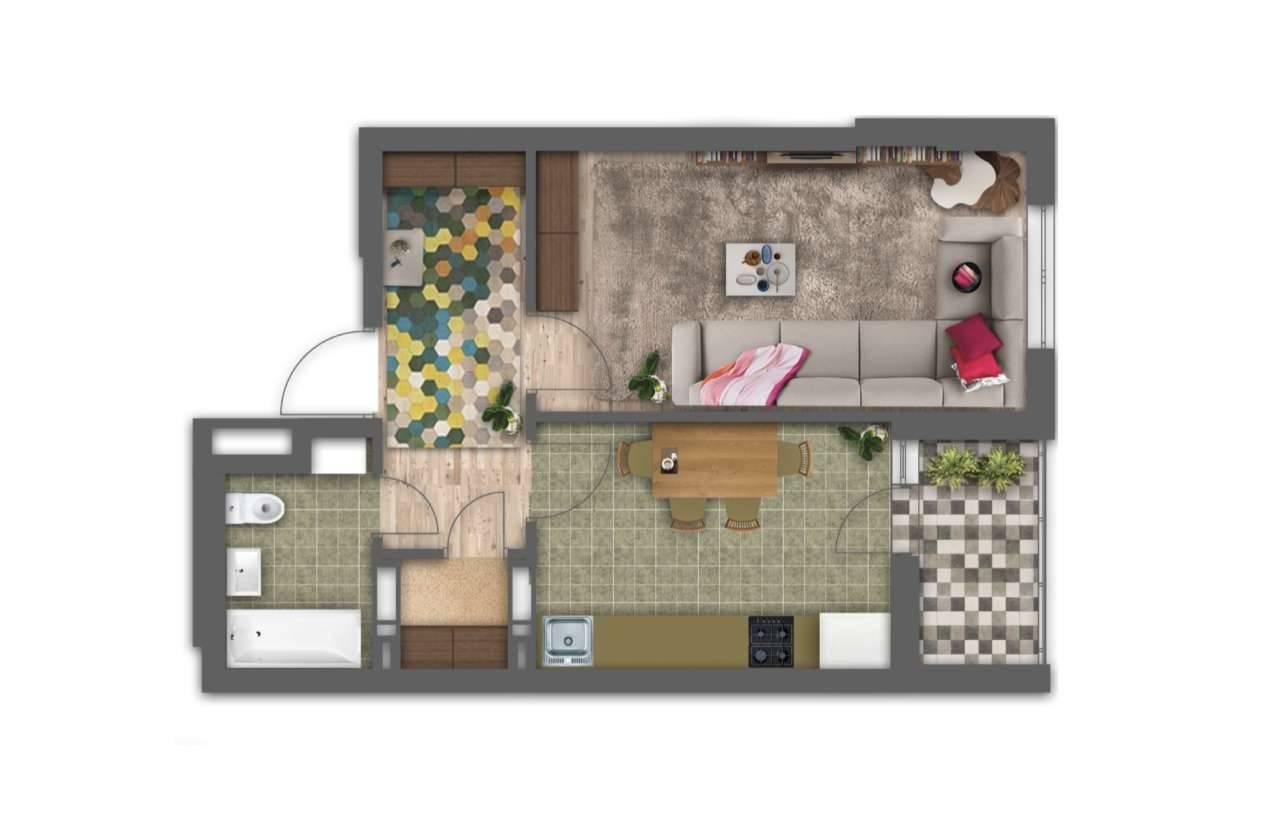 Однокiмнатна квартира 1Б - 3D план
