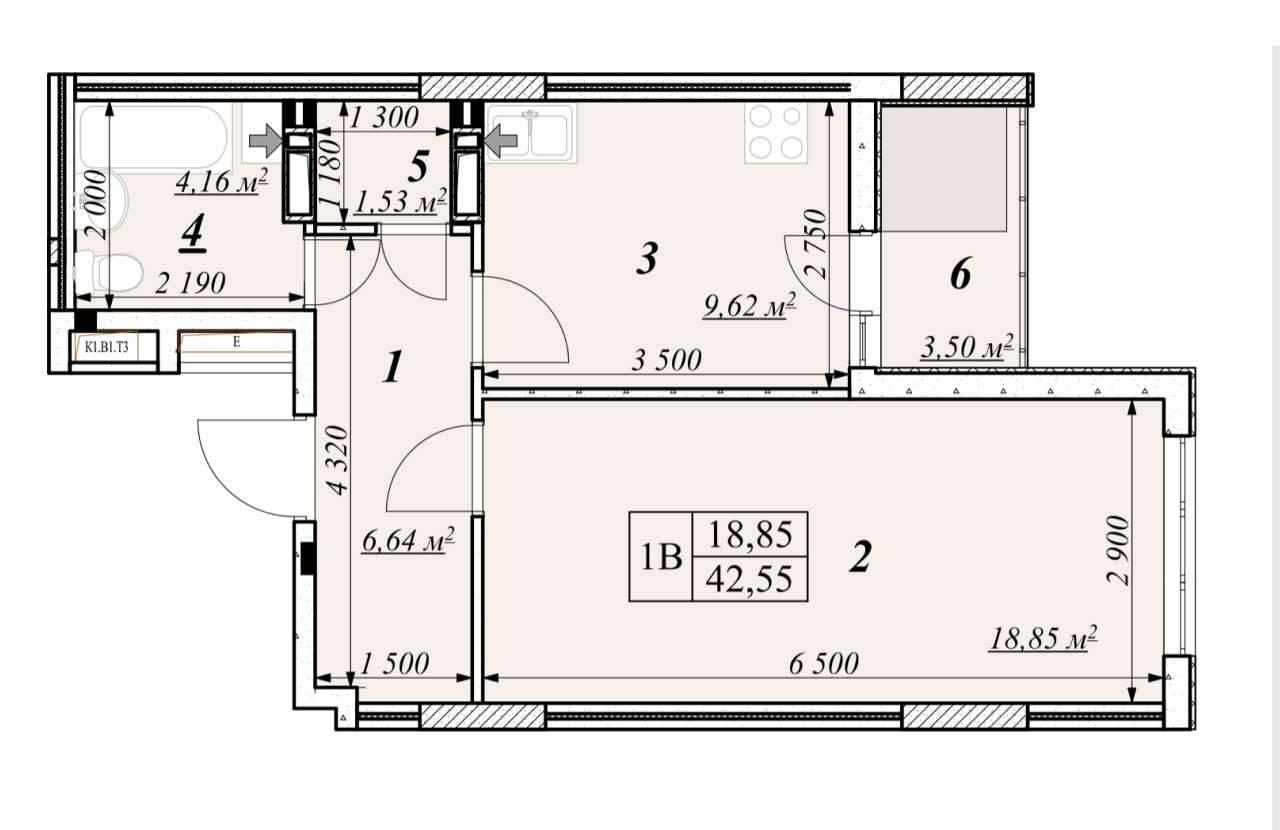 Однокiмнатна квартира 1В - план