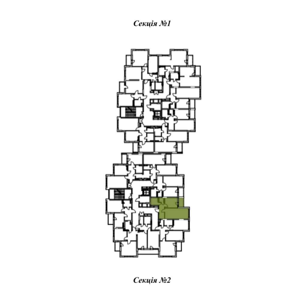 Однокiмнатна квартира 1В - Секція