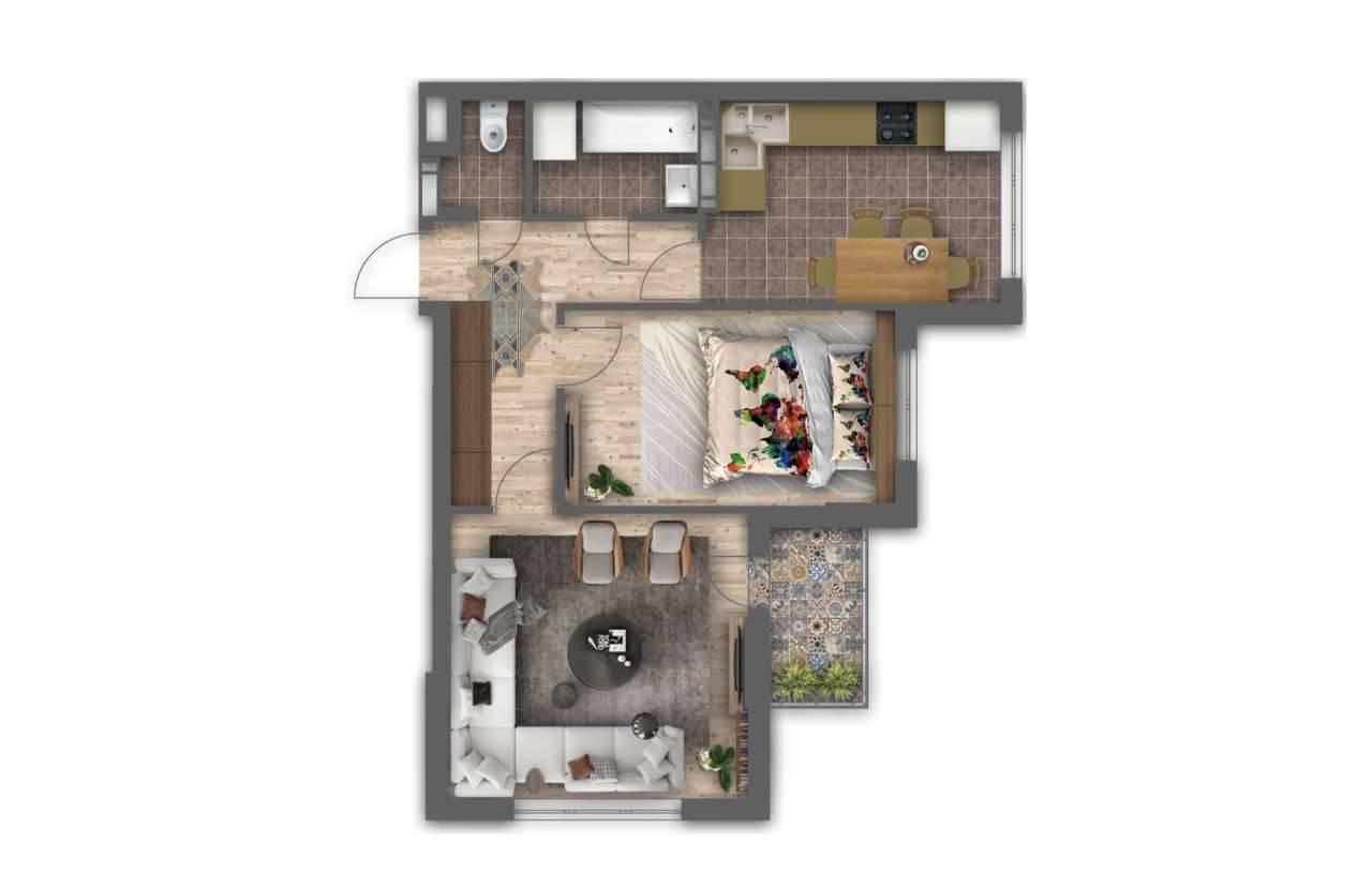 Двокiмнатна квартира 2Б - 3D план