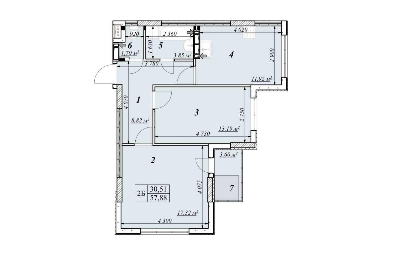 Двокiмнатна квартира 2Б - план