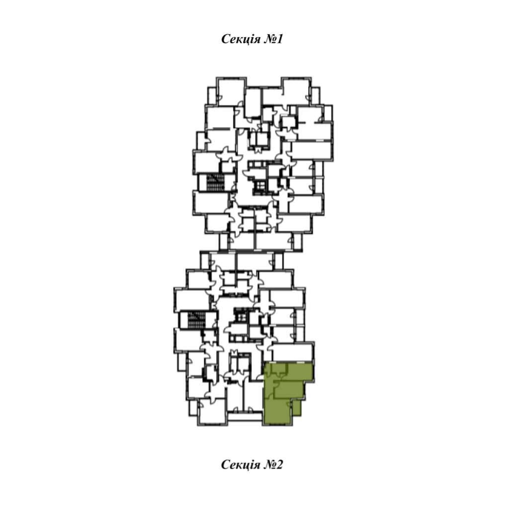 Двокiмнатна квартира 2Б - Секція