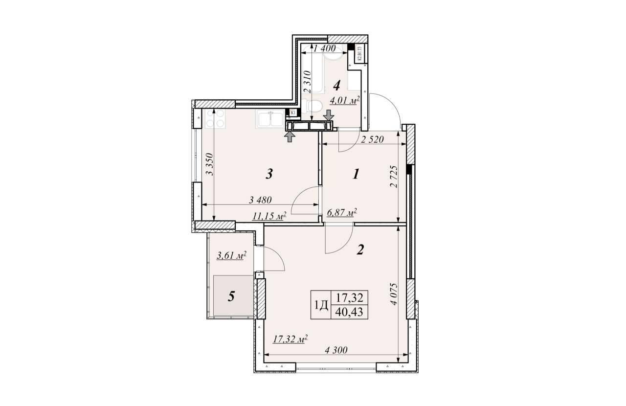 Однокiмнатна квартира 1Д - план