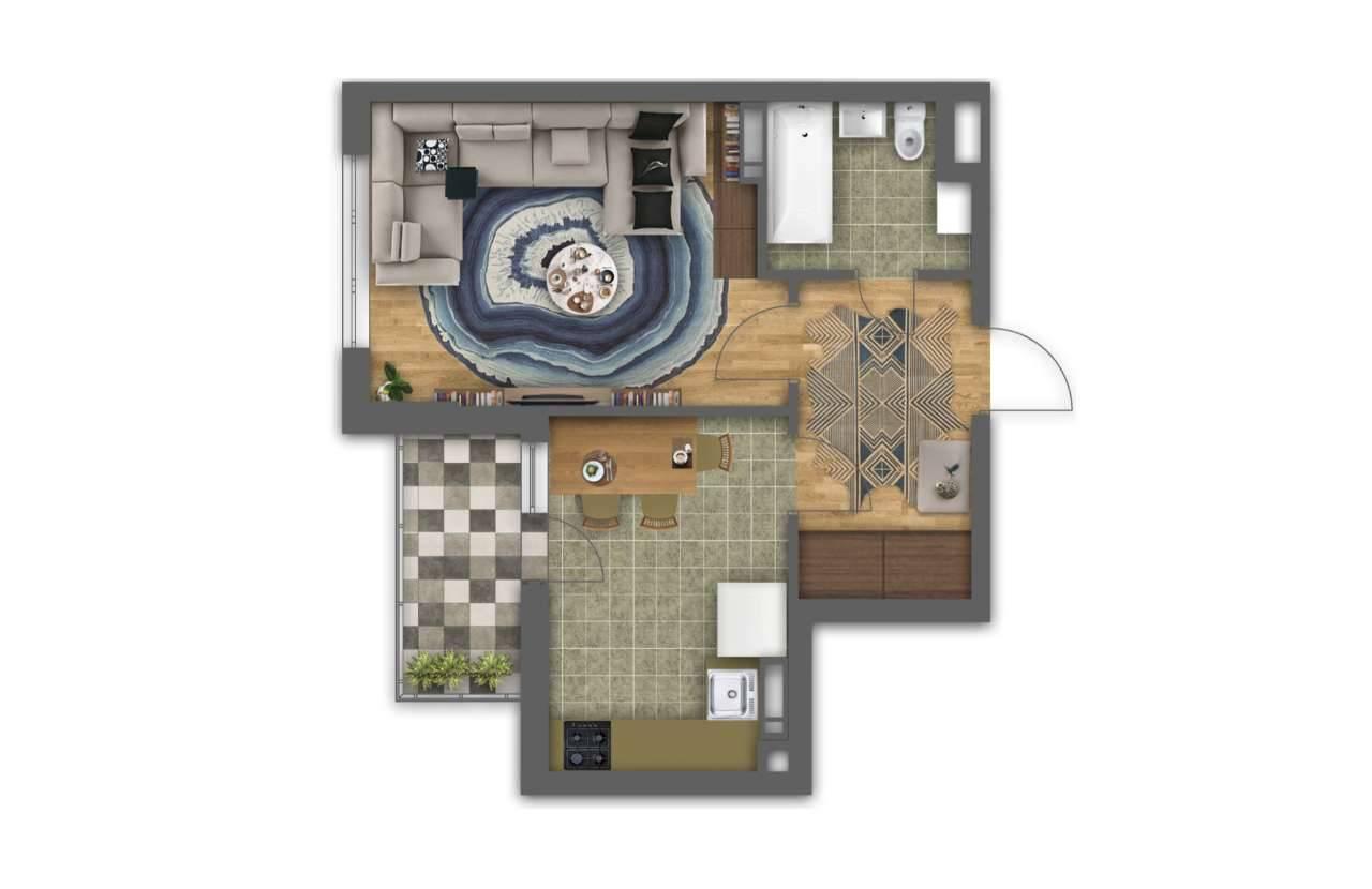 Однокiмнатна квартира 1Е - 3D план